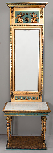 An early 20th century mirror with console table in late gustavian style.