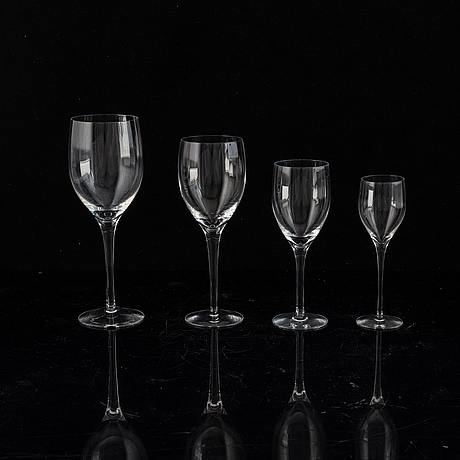 "Nils landberg, a ""illusion"" part glass service, for orrefors sandvik, designed 195 7 (51 pc)."