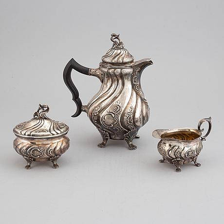 Cg hallberg, kaffeservis, 3 delar, silver, stockholm, rokokostil, 1951.