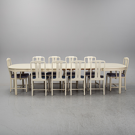 A second half of the 20th century 11 pcs dining set by carl malmsten. Åfors möbelfabrik.