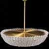 Orrefors, a brass and glass ceiling light, second half of the 20th century.