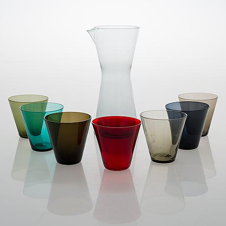 Kaj franck, a set of seven 'kimara' glasses and glass jug,  for nuutajärvi notsjö.