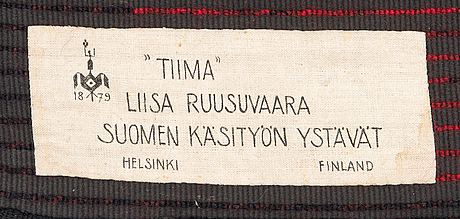 Liisa ruusuvuori, a rya rug model for the friends of finnish handicraft. circa 145x110 cm.