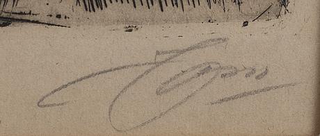 Anders zorn, etsning, 1909, signerad.