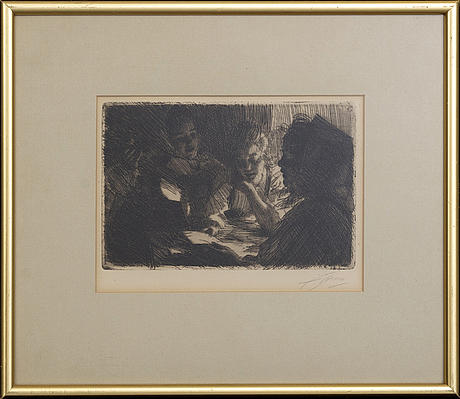 Anders zorn, a signed etching from 1903.