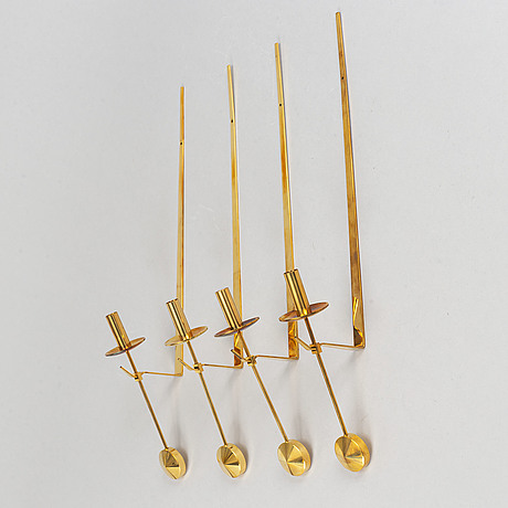 "Four brass ""pendel"" wall candle holders by pierre forssell for skultuna 1978, sweden."