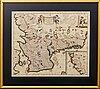 """Frederick de wit, map,  copper engraving,""""accurata scaniae, blekingiae, et hallandiae descriptio."""" 1680's."""