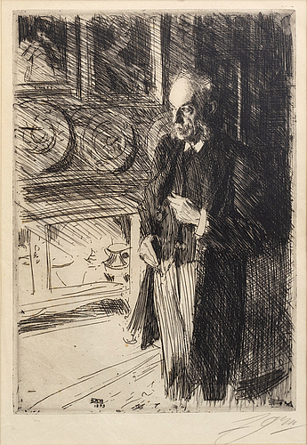 Anders zorn, a signed etching from 1893.
