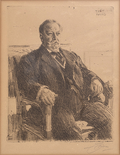 Anders zorn, a signed etching form 1911.