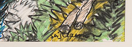 Stig claesson, pastel, signed stig claesson.
