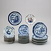 37 blue and white dishes, qing dynasty, 18th/19th century.