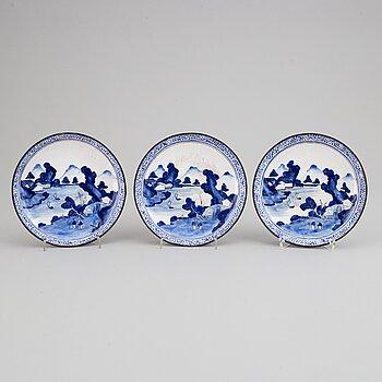 Three enamel on copper dishes, Qing dynasty, 19th century.