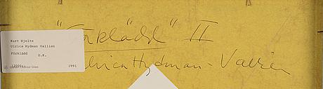 Ulrica hydman-vallien, oil on canvas/panel, signed.