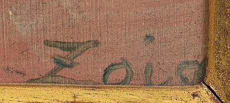 Zoia frolova, olja på pannå, signerad.
