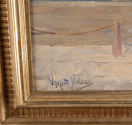 Valfrid nelson, oil on canvas, signed.