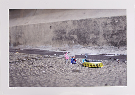 Slinkachu, photograph signed and dated 08 and numbered 5/5.