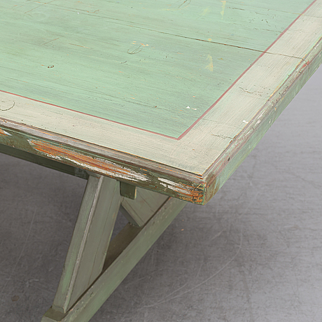 A painted pine table, late 20th century.