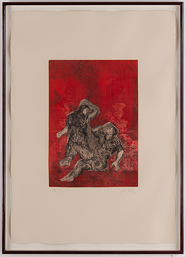 Sandro chia, etching in colours, 1985, signed 30/50.