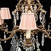 A brass and glass chandelier.