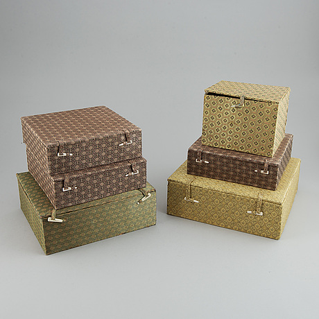A set of six silk clad boxes, china, 20th century.