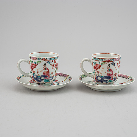 A pair of famille rose cups with dishes, qing dynasty, yongzheng (1723-35).