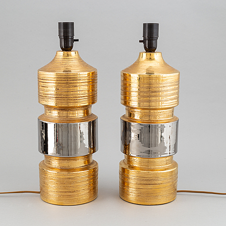 Bitossi, a pair of table lamps, for bergboms, 1970's.
