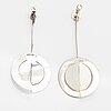 Paula häiväoja, a pair of silver earrings. pentti roos, helsinki 1968 och k hannes niemi, helsinki 1967.