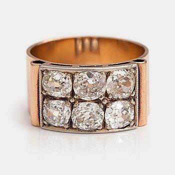 Sormus, 14K kultaa, vanhahiottuja timantteja n. 2.50 ct yht. Kultakolmio, Espoo 1951.