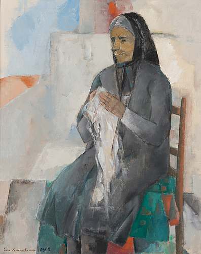 Eva cederström, oil on canvas, signed and dated 1962.