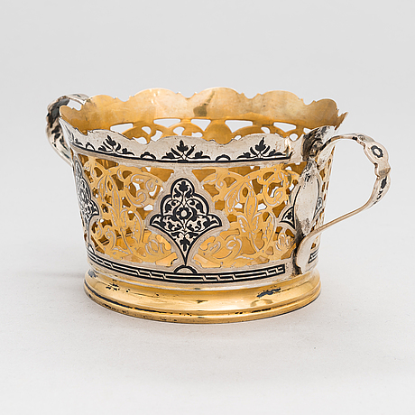 A 6-piece set of kubachi parcel-gilt, silver and niello, russia 1960s.