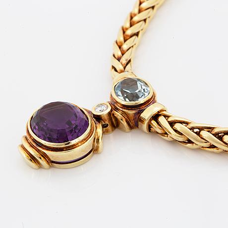 Collier, med briljantslipad diamant, ametist samt akvamarin.