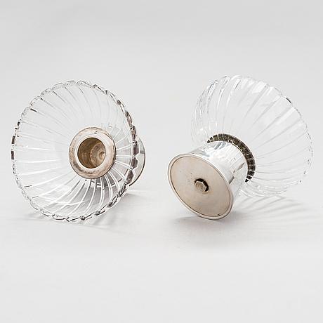 Saara hopea, a pair of silver and cut crystal candleholders, kultakeskus, hämeenlinna 1961. design year 1953.