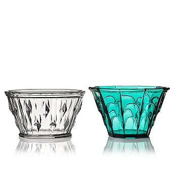 6. Simon Gate, two pressed glass bowls, Orrefors, Sweden 1930's.