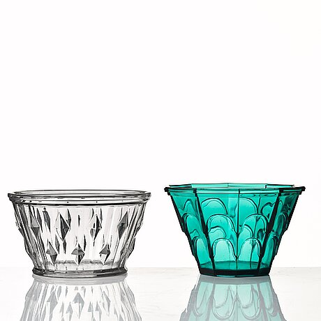 Simon gate, two pressed glass bowls, orrefors, sweden 1930's.