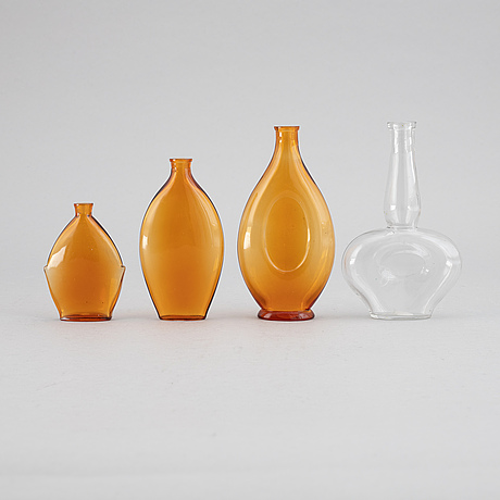 Edvin ollers, a group of four glass perfume flasks, circa 1930.