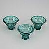 Simon gate, 3 vases, orrefors c. 1930.