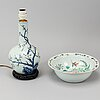 A chinese famille rose vase turned into a table lamp and basin, 20th century.