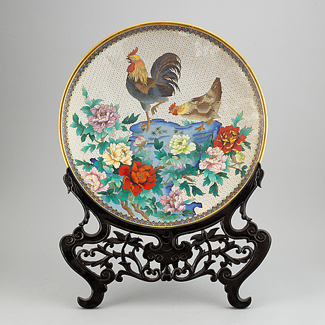 A large chinese cloisonne dish, 20th century.