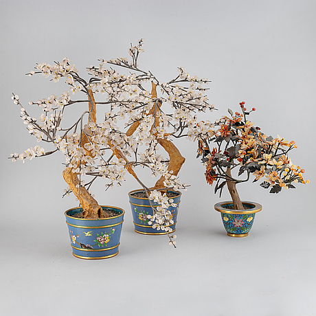Three cloisonne and stone decorations, 20th century.
