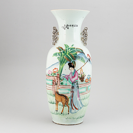 A chinese famille rose floor vase, 20th century.