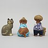Lisa larson, a group of six stoneware figurines, including k-studion, gustavsberg.