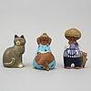 Lisa larson, figuriner, 6 st, stengods, bl.a. k-studion, gustavsberg.