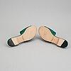 Manolo blahnik, a pair of green satin sandals, size 38.
