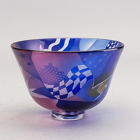 Bertil vallien, skål, glas, kosta boda studio edition 26/90 305881004.