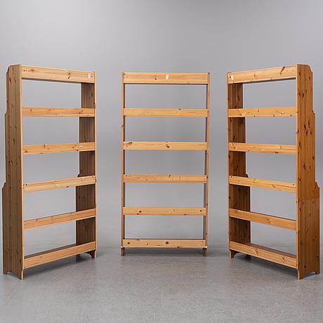 Three stained pine 'leksvik' bookcases, ikea.