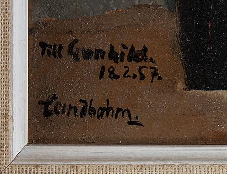 Sixten lundbohm, oil on paper glued down on masonite, signed lundbohm. verso dated paris 1950.
