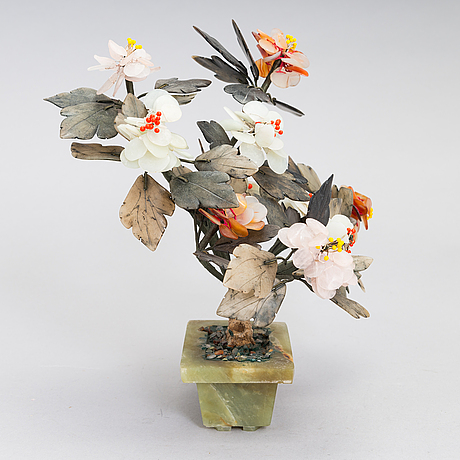 A chinese table decoration in various stones, latter half of the 20th century.