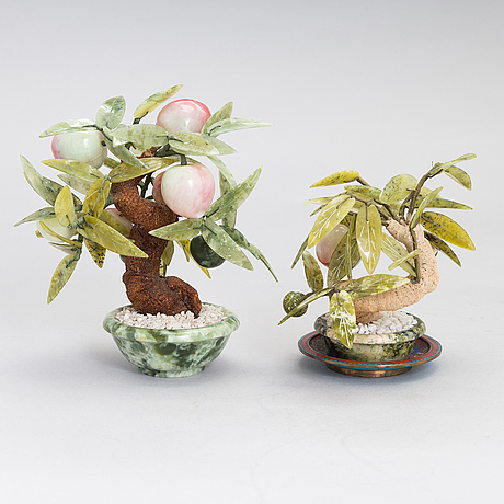 Two chinese table decorations with fruits and leaves in various stones, the latter half of the 20th century.