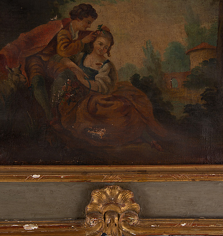 A wall panel with a painting and a mirror inlay, 18th century.