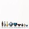 Berndt friberg, a set of three stoneware miniature bowls and six vases,, gustavsberg studio, sweden 1950-60's.